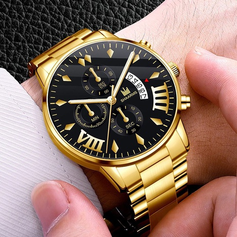 A drop shipping trend steel band men's watch wholesale manufacturer Roman scale calendar quartz watch men's watch men's watch NHHK434138's discount tags