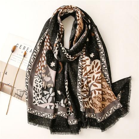 Herringbone pattern soft cotton and linen hand-feel scarf tree leopard pattern loose beard printing travel sunscreen shawl silk scarf NHGD434151's discount tags