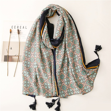 Retro ethnic style pop small flower messy linen cotton and linen feel scarf warm sunscreen silk scarf travel shawl NHGD434152's discount tags