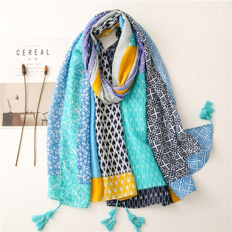 Retro literary ethnic style color geometric cotton and linen feel scarf warm sunscreen silk scarf travel shawl NHGD434153's discount tags