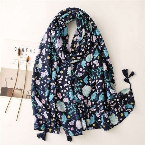 Retro ethnic style navy blue colored floral cotton and linen feel scarf warm sunscreen silk scarf travel shawl NHGD434154's discount tags