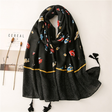 Retro literary ethnic style black flowers cotton and linen feel scarf warm sunscreen silk scarf travel shawl NHGD434155's discount tags