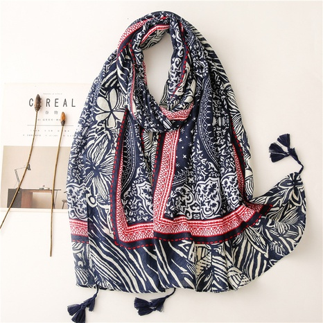 Retro literary ethnic style blue and white porcelain navy blue hand-painted cotton and linen feel scarf silk scarf travel shawl NHGD434156's discount tags