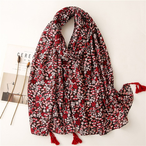 Retro literary ethnic style red small floral cotton and linen feel scarf warm sunscreen silk scarf travel shawl NHGD434157's discount tags