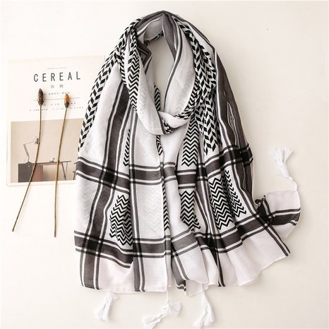 Retro ethnic style black geometric pop cotton and linen feel scarf warm sunscreen silk scarf travel shawl NHGD434158's discount tags