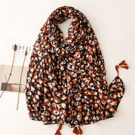 Retro literary ethnic style orange leopard print cotton and linen feel scarf warm sunscreen silk scarf travel shawl NHGD434160's discount tags