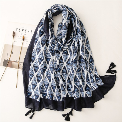 Retro literary ethnic style navy triangle cotton and linen feel scarf warm sunscreen silk scarf travel shawl NHGD434161's discount tags