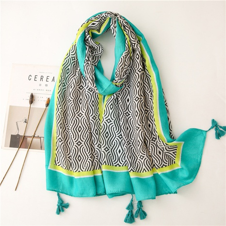 Retro literary ethnic style green geometric cotton and linen feel scarf warm sunscreen silk scarf travel shawl NHGD434162's discount tags
