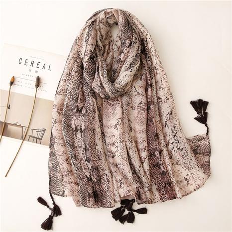 European and American fashion leopard snake skin soft Bali yarn cotton and linen hand feeling scarf decoration travel sunscreen shawl silk scarf NHGD434165's discount tags