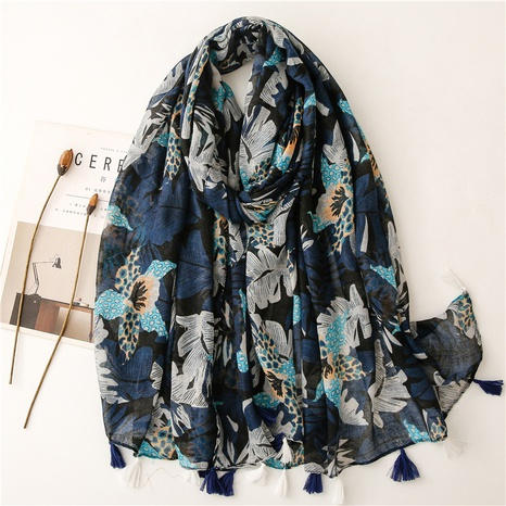 new style cotton and linen feel scarf navy blue big leaf soft fabric printing travel sunscreen shawl silk scarf NHGD434166's discount tags