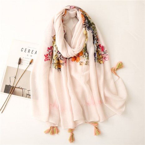Sunscreen silk scarf summer beach towel shawl rice bottom colored flower ethnic style cotton and linen scarf thin cotton and linen silk scarf NHGD434168's discount tags