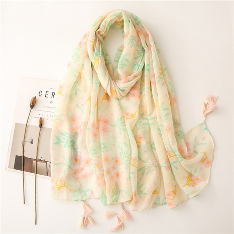 new style cotton and linen hand feeling scarf light gray small flower soft fabric printing travel sunscreen shawl silk scarf NHGD434169's discount tags