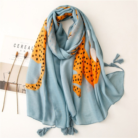 Sunscreen silk scarf summer beach towel shawl color cheetah print ethnic style cotton and linen scarf thin cotton and linen silk scarf NHGD434170's discount tags