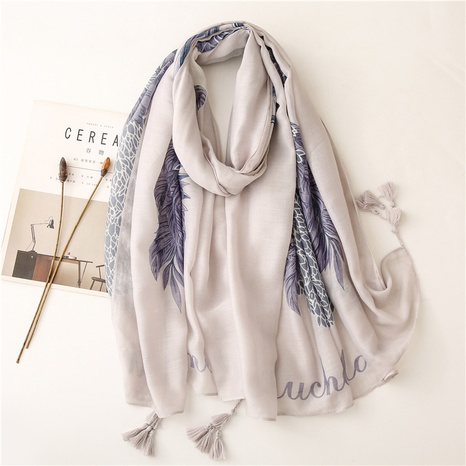 Sunscreen silk scarf summer beach towel shawl purple gray feather ethnic style cotton and linen scarf thin cotton and linen silk scarf NHGD434171's discount tags