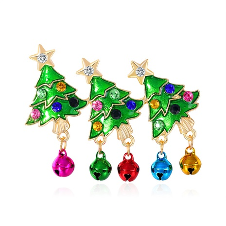 Christmas Tree Bell Brooch Rhinestone Painted Oil Drop Clothing Accessories Pin NHDR434275's discount tags