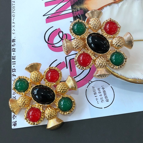 vintage palace style colored gemstone sweater brooch carved pattern French brooch NHOM434560's discount tags