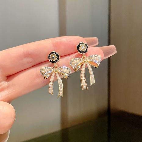 Boucles d'oreilles en perles Bowknot été nouvelles boucles d'oreilles tempérament niche boucles d'oreilles haut de gamme NHXI434658's discount tags