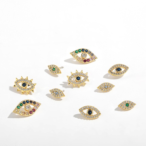 2021 fashion new style ethnic style eyes zircon earrings factory direct wholesale foreign trade jewelry NHLL434718's discount tags