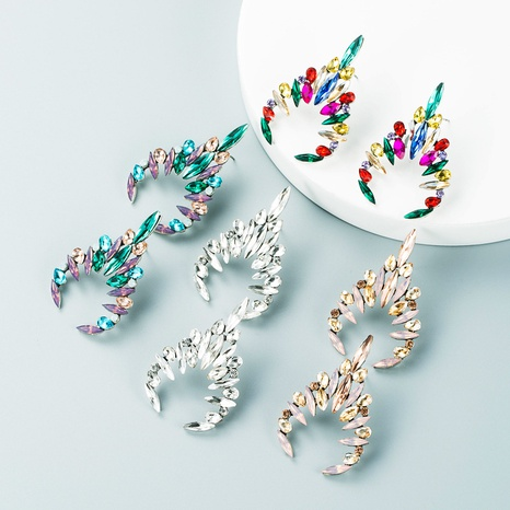 Fashion inlaid color rhinestone full diamond geometric earrings high-end sense earrings wholesale NHLN435078's discount tags
