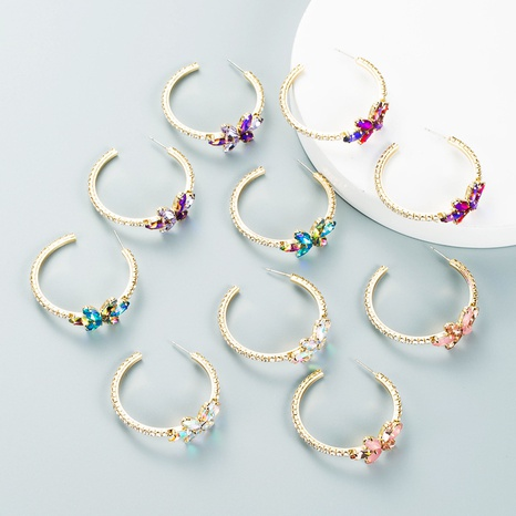 cross-border simple alloy inlaid color rhinestone flower earrings trend high-end sense C-shaped earring NHLN435079's discount tags