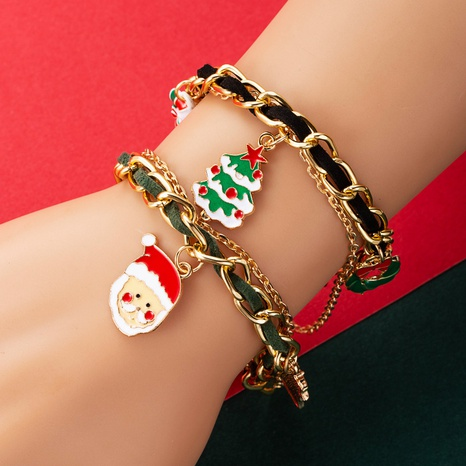 creative Santa Claus Christmas tree bell cane Christmas ornaments mix and match splicing bracelet NHLN435080's discount tags