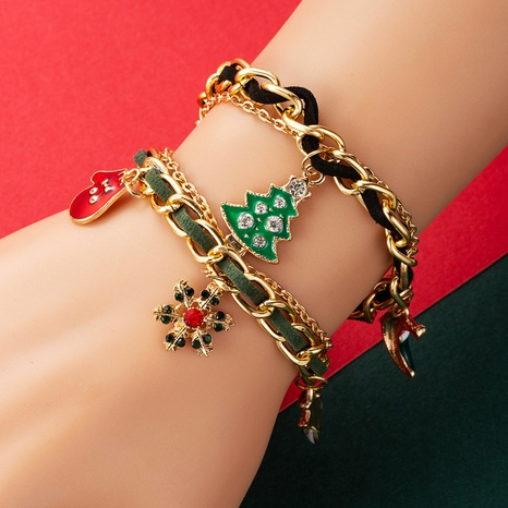 Christmas Tree Snowflake Gloves Snowman Bell Christmas Jewelry Mix and Match Splicing Bracelet  NHLN435081's discount tags