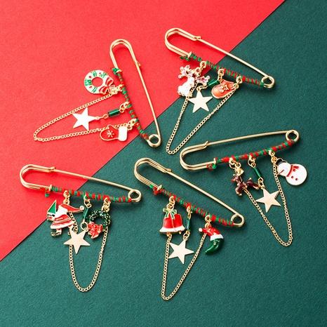 Christmas Pin Color Dripping Oil Santa Claus Elk Snowflake Chain Brooch Tassel Fashion Accessories NHLN435082's discount tags