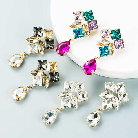 fashion personality multi-layer alloy diamond drop-shaped colored glass diamond earrings super flash earrings jewelry NHLN435088's discount tags