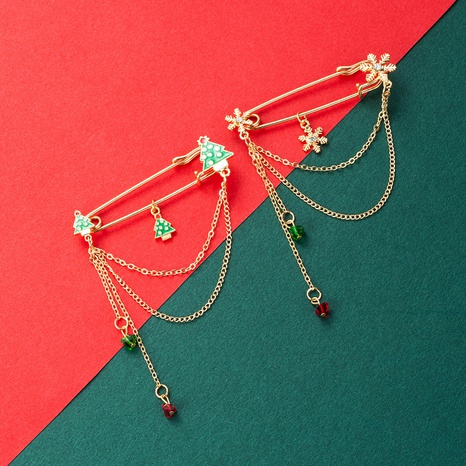 Christmas Series Alloy Color Dripping Oil Christmas Tree Snowflake Chain Brooch  NHLN435091's discount tags
