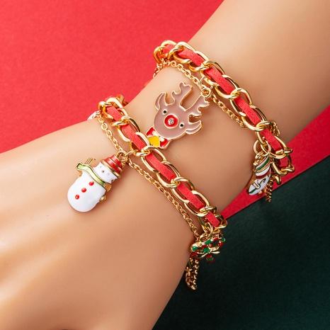 Christmas Series Creative Christmas Tree Elk Snowman Socks Bow Christmas Bracelet  NHLN435092's discount tags