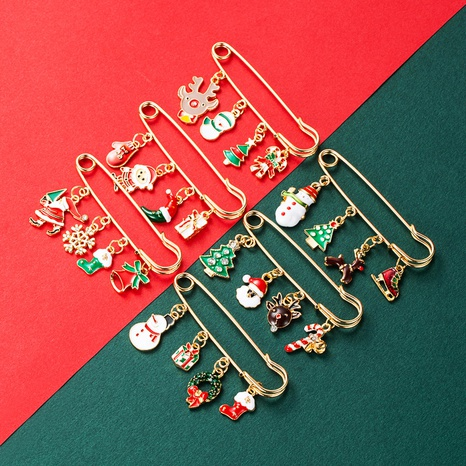 Christmas series alloy color dripping oil Christmas tree snowflake elk snowman pendant brooch NHLN435095's discount tags
