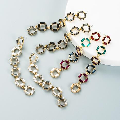 Fashion personality multi-layer small square alloy color rhinestone long diamonds retro temperament earrings NHLN435097's discount tags