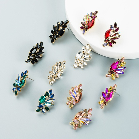 Fashion personality alloy diamond colored rhinestone earrings trend creative earrings cross-border small jewelry NHLN435098's discount tags