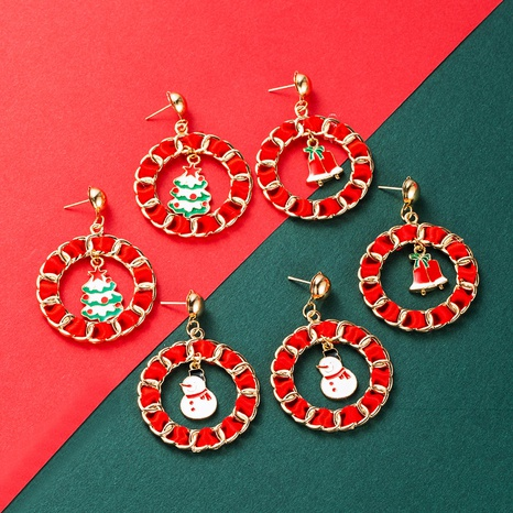 Christmas 2021 new earrings metal dripping circle old man snowflake pendant earrings NHLN435100's discount tags
