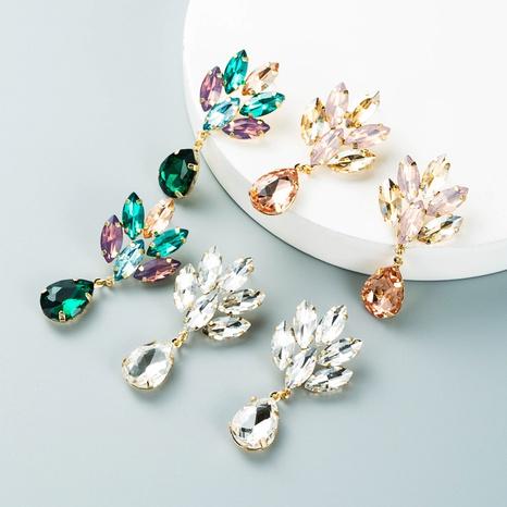 Korean multi-layer alloy diamond-studded flower high-end glass diamond earrings super flash earrings NHLN435109's discount tags