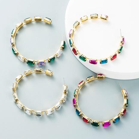 alloy diamond full diamond square glass diamond circle personality earrings fashion trendy earrings NHLN435111's discount tags