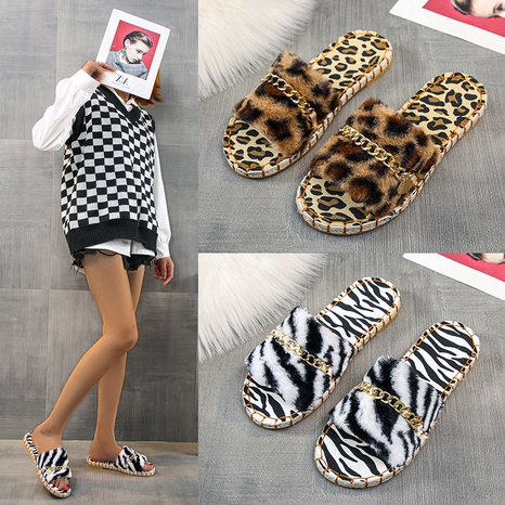 Wish foreign trade plush slippers women 2021 autumn and winter new style European and American plus size one word outer wear plush slippers women wholesale NHMIX435594's discount tags