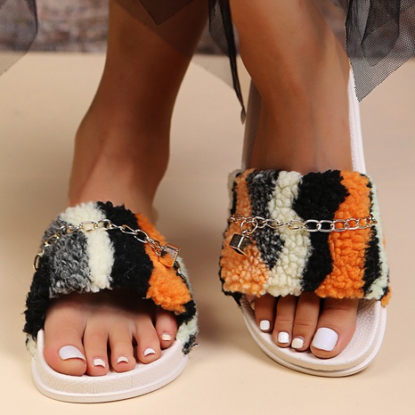 Independent station foreign trade plus size slippers female 2021 fall/winter new style hairy slippers children wear chain one-word sandals NHMIX435598's discount tags