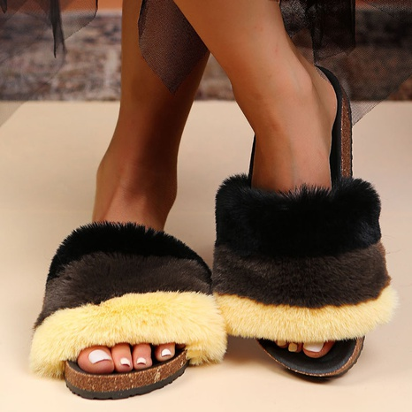 AliExpress 2021 autumn and winter new style European and American color matching plush flat-bottomed home women's slippers foreign trade large size women's shoes NHMIX435600's discount tags