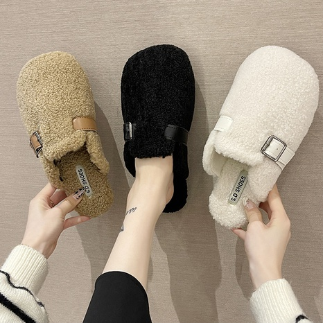 Slippers for women's outer wear for autumn and winter 2021 new net red Korean version of the Bai Da flat belt buckle Baotou hairy drag tide NHMIX435601's discount tags