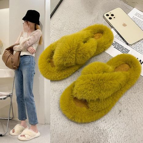 Plus size plush slippers women 2021 autumn and winter new warm women's shoes cross plush flat bottom plush slippers wholesale NHMIX435602's discount tags