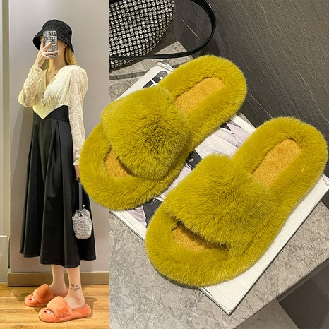 Plus size slippers women 2021 fashion net red furry flat-bottomed warm slippers autumn and winter furry slippers women wholesale NHMIX435603's discount tags