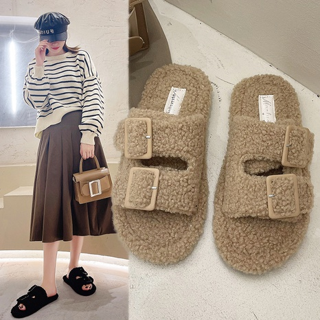 Hairy slippers women's autumn and winter 2021 new fashion Korean flat-bottomed indoor home in-line lazy slippers NHMIX435607's discount tags