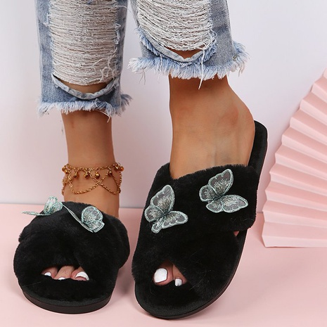 Cross-border independent station 2021 autumn and winter foreign trade new European and beautiful women shoes large size low-heeled cotton slippers manufacturers wholesale NHMIX435610's discount tags