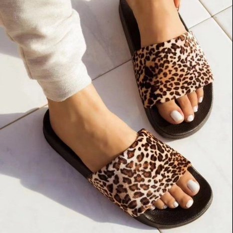 Wish Amazon Independent Station 2021 Fall Europe and America New Color Combination Flat Sandals Leopard Print Large Size Slippers Women NHMIX435630's discount tags
