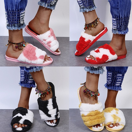 Foreign trade 2021 cow color slippers women fashion cross hairy slippers women plush flip flops home cotton slippers NHMIX435631's discount tags