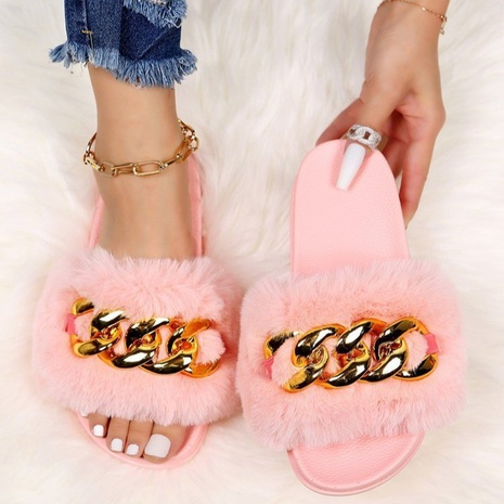 large size women's shoes autumn outer wear metal chain sandals and slippers plush women's slippers NHMIX435637's discount tags