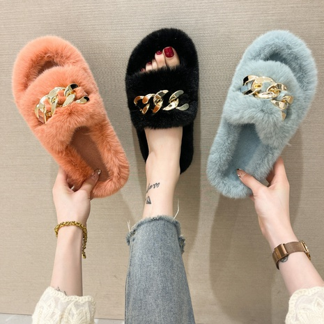 2021 women's new one-word fur shoes, women's winter flat-bottomed Muller shoes, Korean version of fur slippers, women's outer wear slippers wholesale NHMIX435643's discount tags