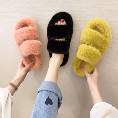2021 net red hairy slippers female candy color autumn and winter indoor and outdoor wear warm furry cotton slippers NHMIX435644's discount tags