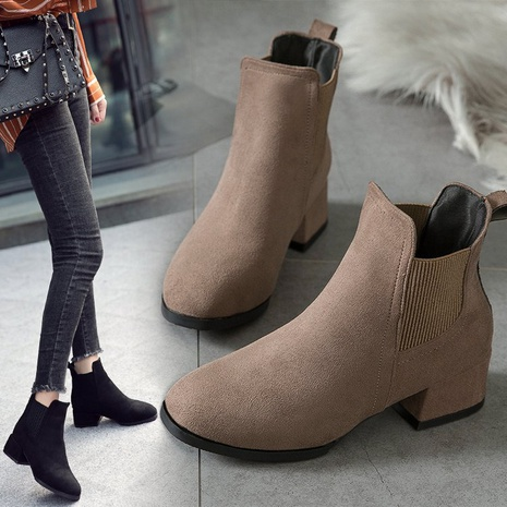 plus size autumn new style British casual round head square heel suede women's Chelsea leather boots NHMIX435661's discount tags